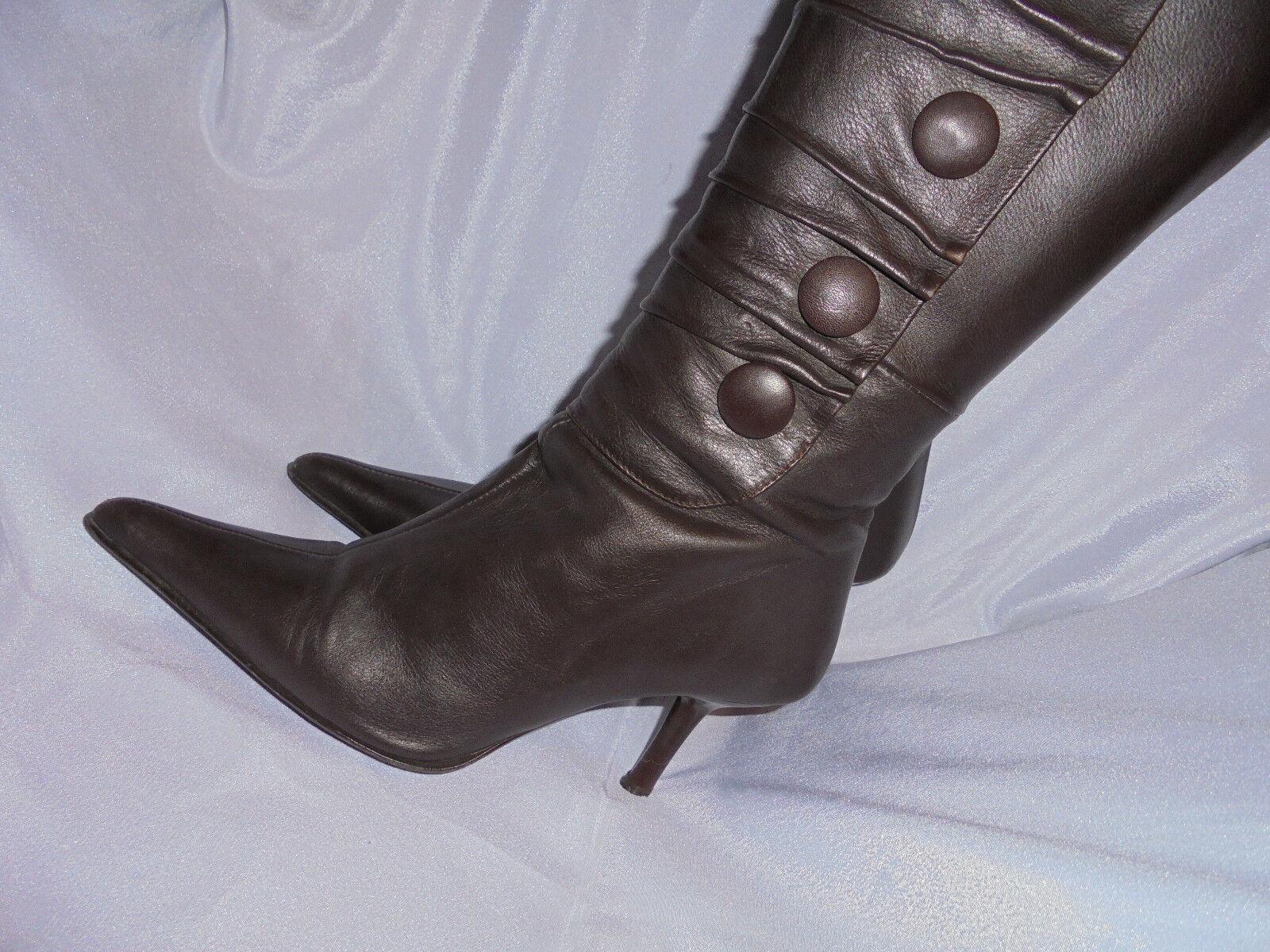 Hebillas Cuero Marrón & Rodillas arcos Mujeres Hasta Las Rodillas & Cremallera Boot Size en muy buena condición ee36d6