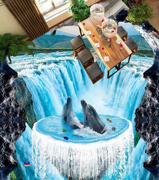 3D Papel Pintado Mural Cascada Dolphin Piso Impresión De Parojo Calcomanía Papel Pintado 5D AJ