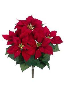 17 Artificial Velvet Poinsettia Bush Red Pack Of 12 Silk Flower