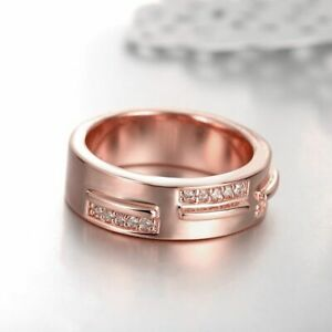 New-18K-Rose-Gold-GP-Crystal-Wedding-Engagement-Band-Ring-Mens-amp-Womens