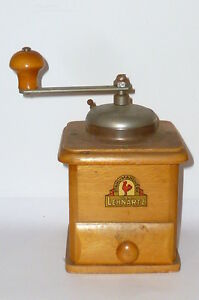 Antique-Lehnhartz-Coffee-mill-grinders-Wood-RARE