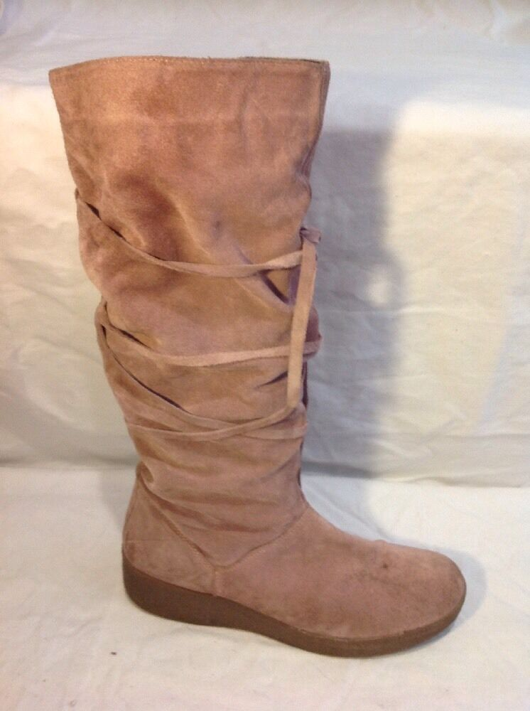 Ladies Pink Knee High Suede Boots Size 40