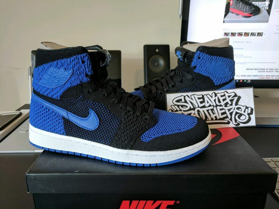 Nike Air Jordan Retro I 1 High Flyknit Royal bluee Black White 919704-006 Banned