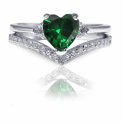 Heart Cut Green Emerald May Birthstone .925 Sterling Silver Solitaire Ring