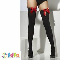 BLACK OPAQUE HOLD UPS STOCKINGS + RED BOWS - 10-14 - ladies fancy dress hosiery