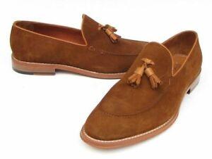 Chaussures à glands mocassins en daim marron véritable fait à la main pour homme