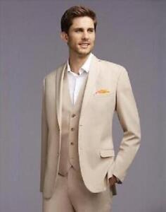 Image Is Loading Men 039 S Beige Wedding Suits Formal Groom