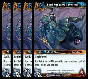 4x Lord Kur'Talos Ravencrest War of the Ancients Epic 101 World Warcraft WoW TCG