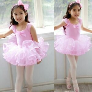 Kid-Girls-Ballet-Dance-Tutu-Dress-Toddler-Gym-Costume-Sequin-Dancewear-For-3-8Y