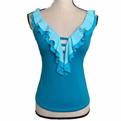 Bleu Rod Beattie Blue Ombré Halter Swimsuit Tankini Top Size 6 NWT $91