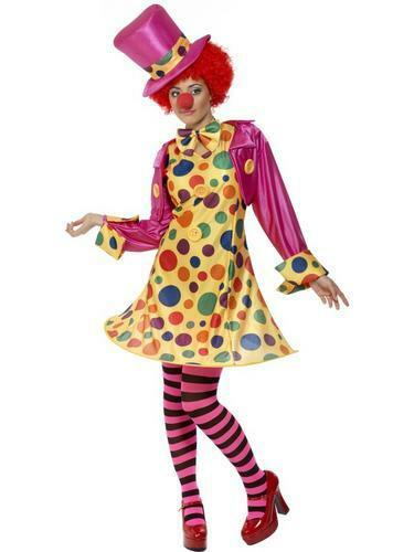 Clown Nose Ladies Fancy Dress Circus Carnival Womens Adult Costume New Wig