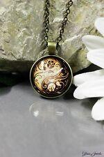 Glass Jewels Bronze Halskette Anhänger Cabochon Vintage Yin Yang Blüte #N009