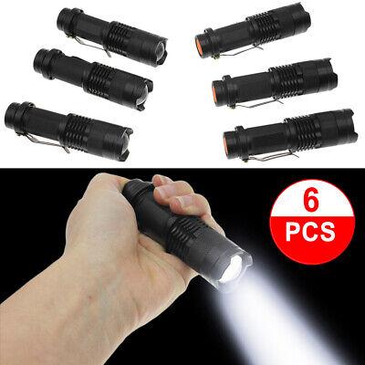 6pc Quality Mini Q5 LED Flashlight Torch 1200LM Adjustable Focus Zoom Light Lamp