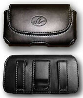 Black Leather Case Pouch Belt Holster With Belt Clip/loop For Blu Tank 2 Ii T193