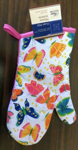 """BUTTERFLIES w//pink back by GR Fabric Printed Kitchen 13/"""" Jumbo Oven Mitt"""