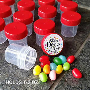 12-Polyprop-Plastic-Jars-RED-Screw-on-Feeder-Container-1-2-ounce-DecoJars-USA