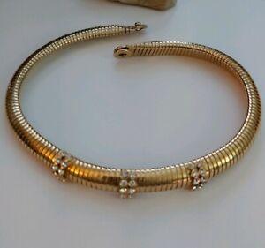 Vintage-Nouva-Capica-snake-chain-goldtone-expansion-choker-necklace-Italian