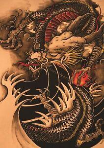 chinese dragon tattoo art fantasy a3 poster print hal634 ebay