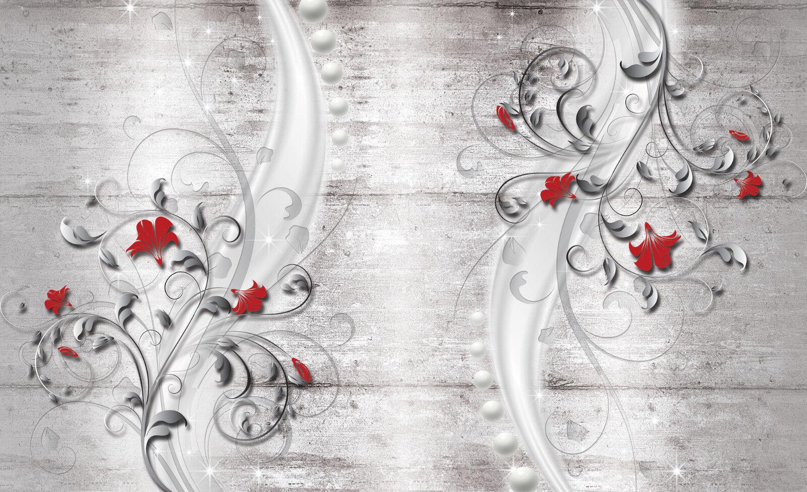 VLIES Fototapete-BlauMEN-DESIGN-(3285)-ZierBlaumen Holz-Wand Blüten Pflanzen xxl