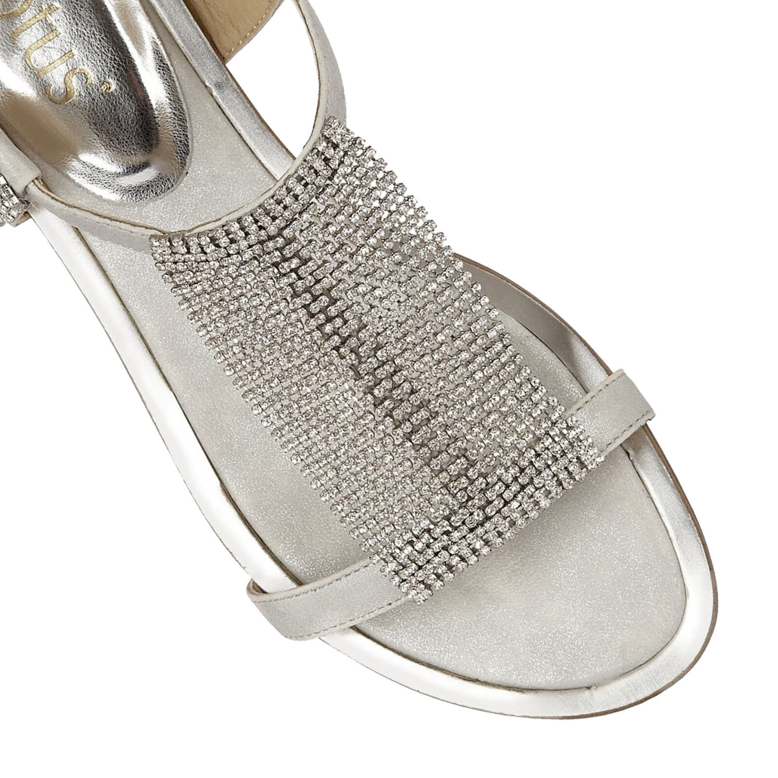 Femmes Lotus Agnetha Argent Strass  s s s Plates Boucle Fermeture Chaussures d694f3