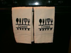 Monogram Kitchen Utensils Personalized Dish Or Hand Towels Farm Country Kitchen Ebay