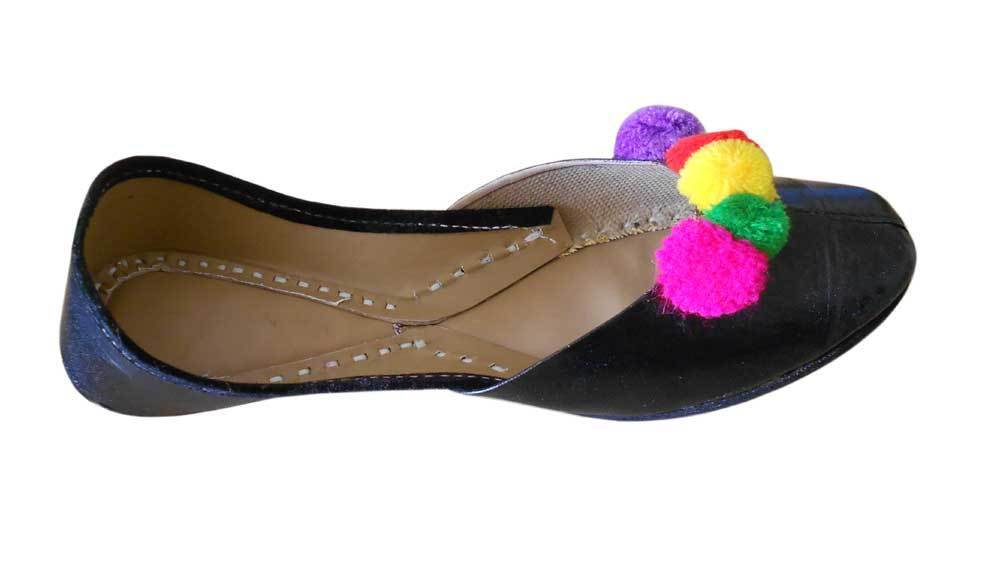 Women Shoes Indian Traditional Black Leather Loafers Jutties UK 3-5 EU 35.5-38