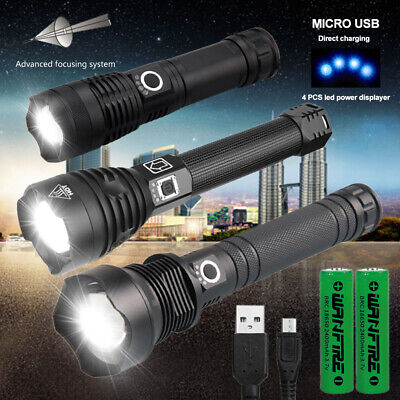 Super Powerful LED Flashlight XHP70.2 USB Tactical Torch USB Rechargeable