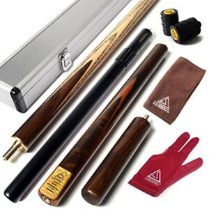 """CUESOUL 57"""" Handcrafted 3/4 Jointed Snooker Cue With Mini Butt End Extension"""
