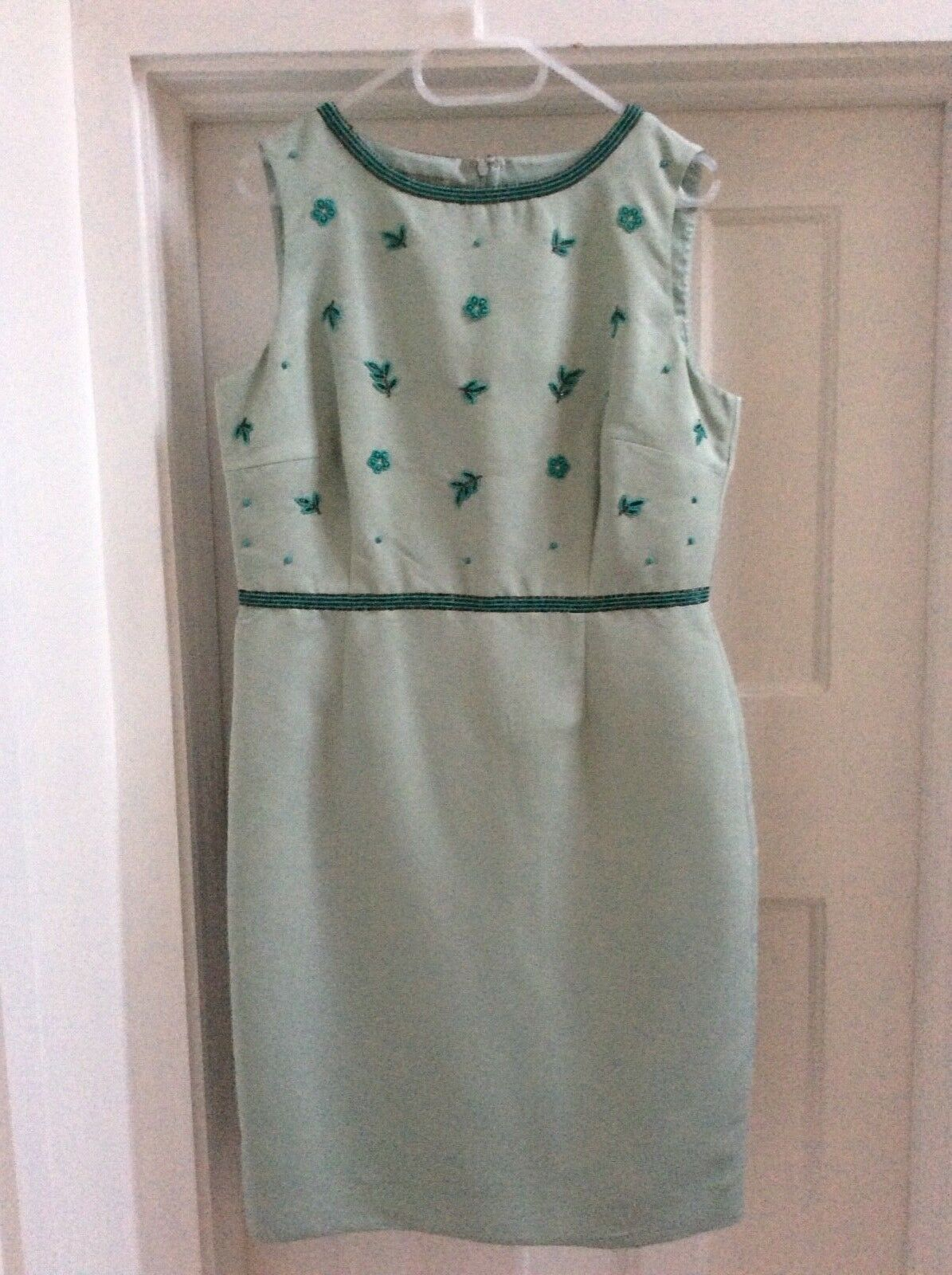 HOBBS WOMENS ASHTON BEADED CAMEO GREEN DRESS BNWT