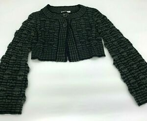 CAbi-Knit-Cropped-Long-Sleeve-Shrug-Sweater-Green-Black-Women-s-Size-Small