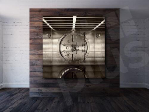 Bank Vault Door Grunge Art Canvas Poster Print Home Wall Decor
