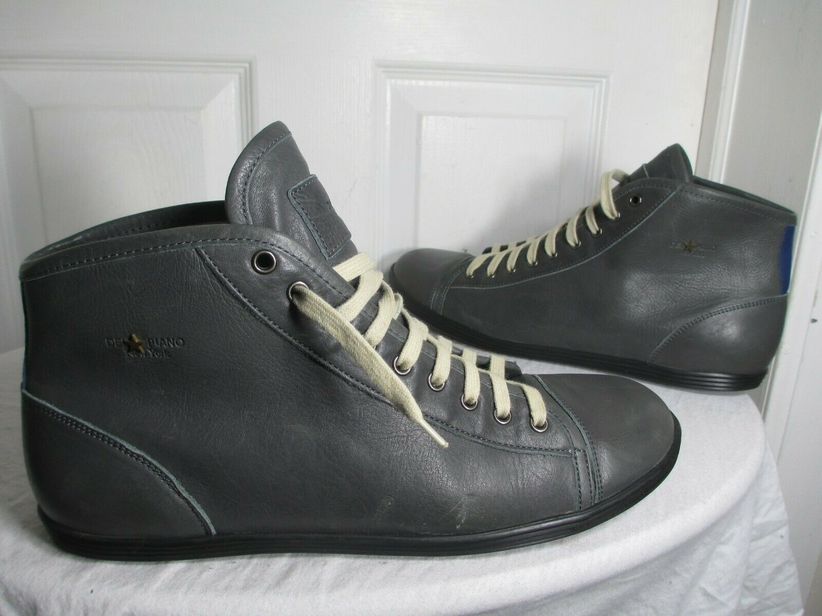 DEL⭐PIANO NEW YORK MEN'S GREY LEATHER HIGH TOP SNEAKERS 46 US 13 MADE IN ITALY