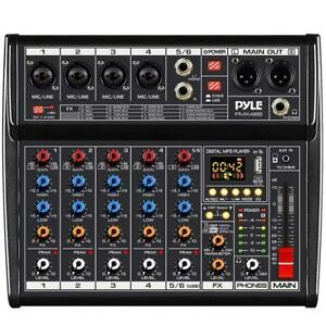 PYLE PMX466 6-Channel Audio Mixer with Bluetooth, MP3 Player, Recording & USB Interface Canada Preview