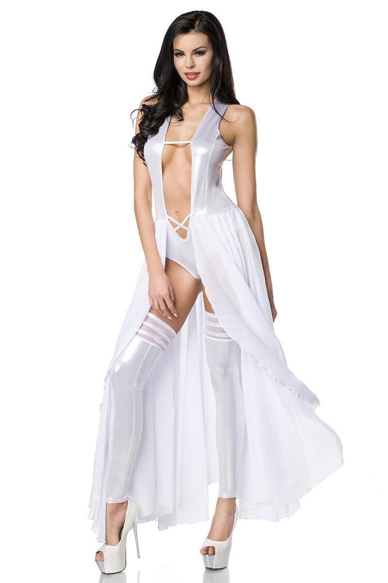 ATX 18199 Bodydress Rock Kleid Freizeit Klub Club Gogo weiss-silber  Dress