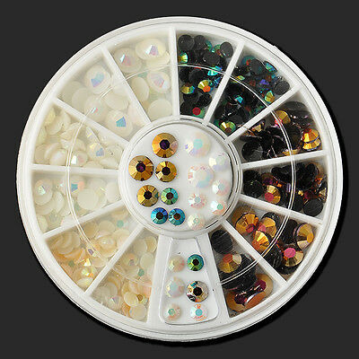 Wholesale DIY 3D Nail Art Tips Studs Glitter Rhinestone Decoration+Wheel