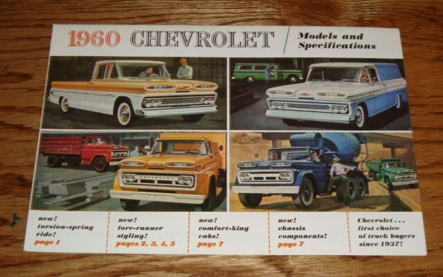 1960 Chevrolet Full Line Truck Models & Specifications Sales Brochure Chevy 60