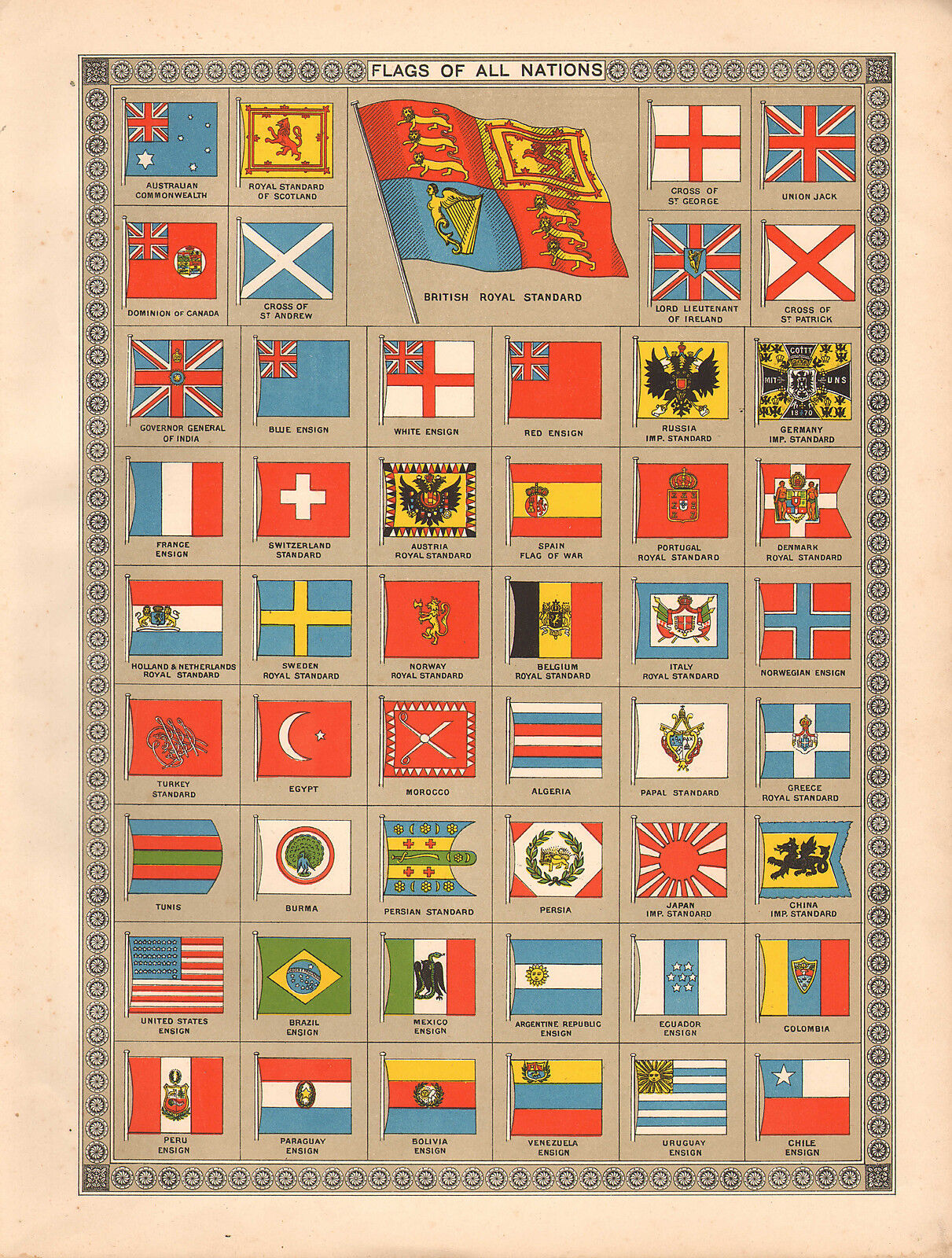 1908 grand victorian print  flags of all nations japan royal