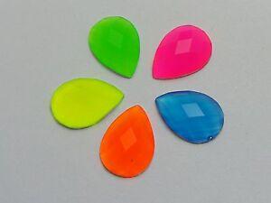 100-Mixed-Neon-Color-Flatback-Acrylic-Teardrop-Rhinestone-Gems-10X14mm-No-Hole
