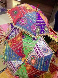 5 Pc Lot Decorative Parasol  Umbrella Indian Hand Embroidered  Vintage Sun Shade