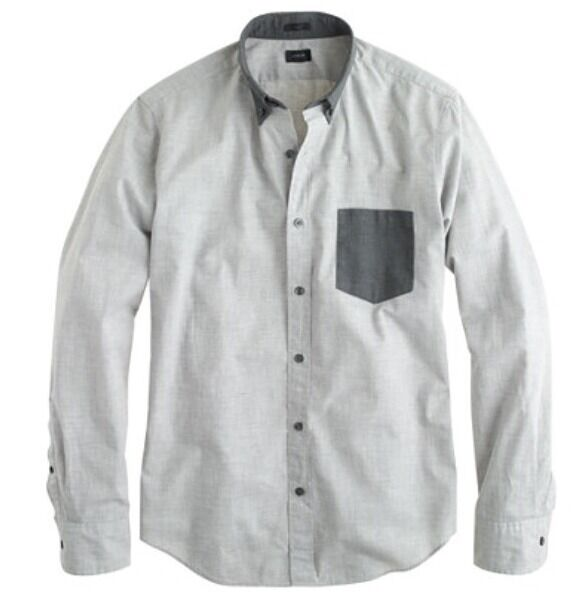 Neuf avec étiquettes J CREW SLIM Secret WASH Shirt en Heather Smoky CHARBON XL