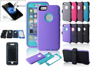 For-iPhone-7-7-PLUS-Defender-w-Tempered-Glass-Shock-Proof-Case-Clip-Fit-OtterBox