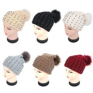 bff21c78eca womens winter knitted ribbed metallic beads beanie hat pom pom ...