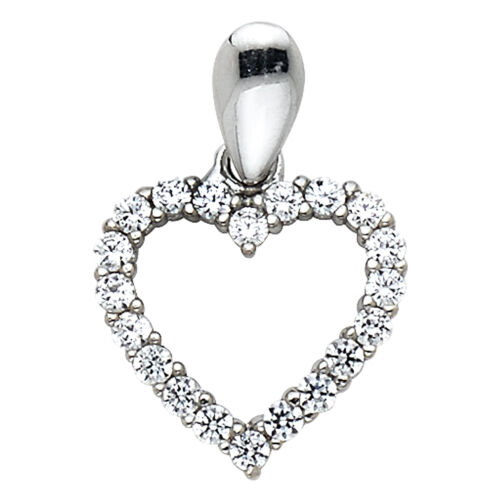 0.25 CT Diamond Small Open Heart Pendentif Charm 14K Solide Or Blanc