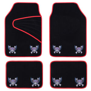 Universal-Car-Floor-Mats-Red-Black-Embroidery-Pirate-Style-Anti-slip-for-SUV-VAN