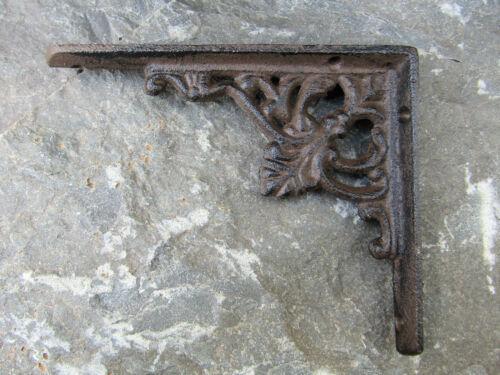 "Set of 4 Small 5.25/"" Brown Antique-look Palmette /& Vine Cast Iron Shelf Brackets"