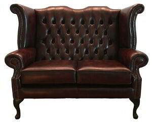 Chesterfield Fauteuil Oxblood.Details About Chesterfield Genuine Leather Queen Anne Two Seater Sofa Antique Oxblood Red