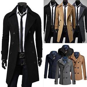 Mens-Trench-Coat-Long-Jacket-Double-Breasted-Peacoat-Formal-Outwear-Windbreaker