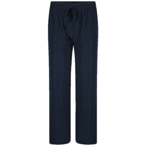 Navy Wide Leg Dance Ankle Trousers With Stretch Ladies Pull On Black