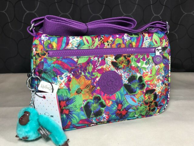 0c3d031efab New $89 Kipling Callie Aloha Grove Purple Hawaiian Floral Shoulder  Crossbody Bag