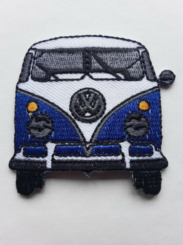 GERMAN CAMPER VAN BLUE AND WHITE NOVELTY QUALITY EMBROIDERED  PATCH UK SELLER